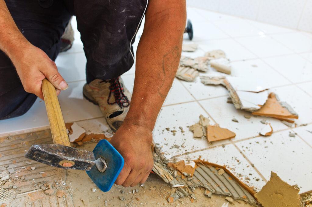 renovering af badeværelsets gulv